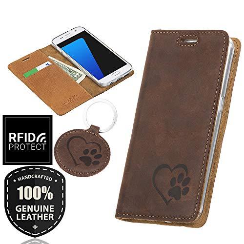 SURAZO Smart Magnet - Hundeherz - Premium Vintage Ledertasche Schutzhülle Wallet Case aus Echtesleder Nubukleder Farbe Nussbraun für Huawei Mate 10 Pro (6,00 Zoll)