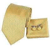 Hi-Tie - Corbata de oro para hombre con gemelos y corbata cuadrada de bolsillo Dorado Gold Grid Solid Talla única