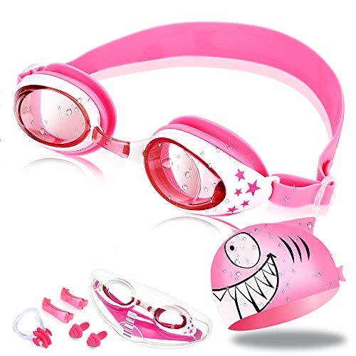 OTraki Schwimmbrille Kinder, Schwimmbrillen Set UV Schutz Lecksicher Anti-Beschlag Swimming Goggles mit Badekappe Ohrstöpsel Nasenclip und Austauschbarem Nasensteg für 2-6 Jahre Rosa