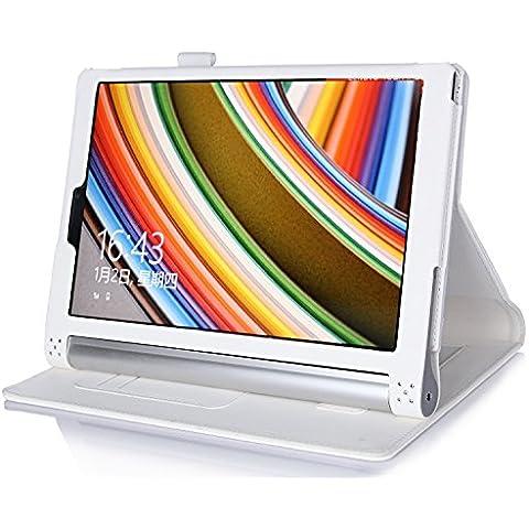ELTD Lenovo Yoga Tab 3 Pro cover, Book-style Funda de piel de cuerpo entero para Lenovo Yoga Tab 3 Pro 10.1-inch con la función del sueño / despierta, Blanco