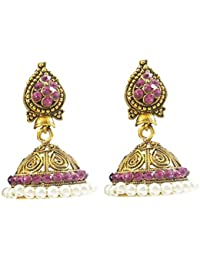 Luxaim Stylish Designer Gold Plated Dangle Drop Earrings For Girls, Women, Ladies With Dazzling Crystal Stone...