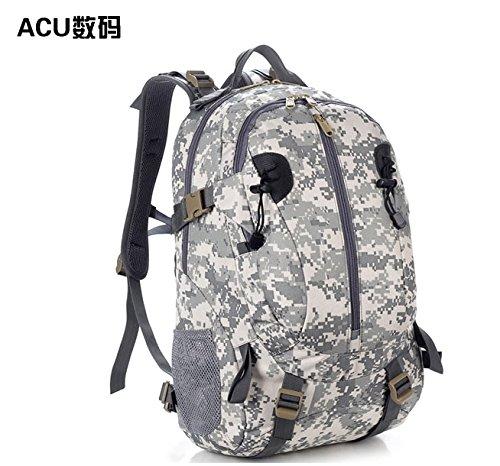 Outdoor Reisen Bergsteigen Taschen Wasserdicht camouflage Rucksack schulter Rucksack 50 * 32 * 16 cm, Wolf Braun, 36-55 Liter ACU Digital