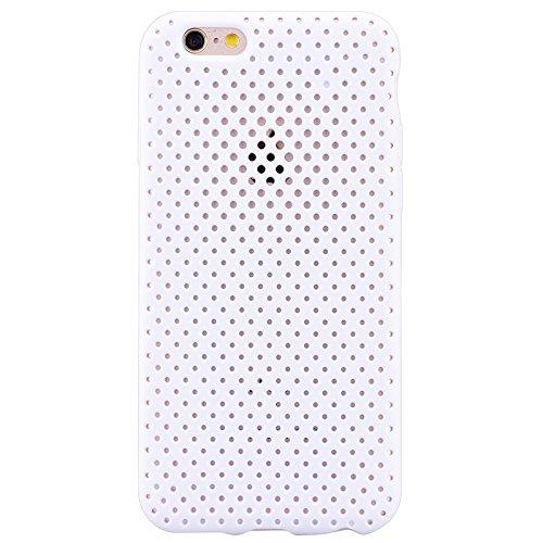 iPhone 6 / iPhone 6S UltraSlim Hülle, Yokata Tpu Weich Transparent Schutzhülle Silikon Gitter Case Rutschfest Cover - Schwarz Weiß