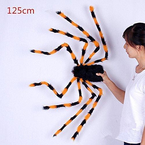 URGrace 125CM Großes realistisches gefälschtes buntes Plüsch-Spinnen-Marionetten-Witze Halloween-Stützen Lustiges Spielzeug für Party-Stange KTV Halloween-Dekoration (an der gelegentlichen Farbe)