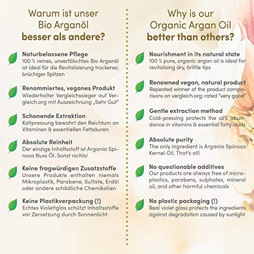 Der TESTSIEGER auf vergleich.org 2017: Bio Arganöl von höchster Qualität 100ml Serum Rein & Natürlich in Lichtschutz Glas-Flasche mit Spray + Pipette – Haaröl und Körperöl für Anti-Aging junge Haut und schöne Haare & Nägel - 3