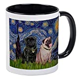 Starry Night & Pug Pair Mug Unique Coffee Mug, Coffee Cup...