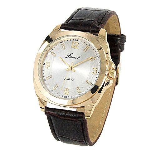 Herren Armbanduhr flach in gold mit braunem Lederband passend zum Anzug Hemd Alltag tauglich japanisches Quarz Uhrwerk