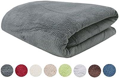 ZOLLNER® Manta terciopelo cama 90 cm / manta polar coralina / manta cama individual, disponible en 150x200cm o 220x240cm, 100% poliéster, en muchos colores como beige, azul, gris, etc., serie