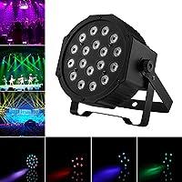 Luz de Escenario , JELEGAN DMX-512 RGB Par LED Luz del Disco con 18 LEDs DJ Luz Luz de Fiesta Activado Iluminación Escénica Luces de Proyector Accionadas por Club Boda Cumpleaños KTV Bar Fiestas
