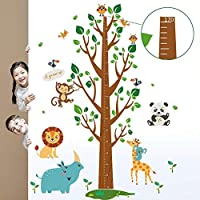 decalmile Animal Monkey Elephant Tree Branches Height Chart Vinyl Wall Decals Removable Wall Stickers Murals for Kids Nursery Bedroom Living Room