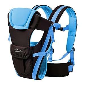 ELENKER Babytrage, Bauch-, Rücken- und Hüfttrage, 4 Tragpositionen (3-18KG, 0-30 Monate) Blau