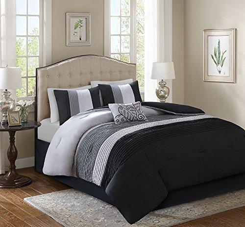 Comfort Spaces Windsor 5-teiliges Bettset für Queen/Full Biesenmuster mit Plissee-Streifenmuster, gerüscht, Patchwork-Daunen, Alternativ-Bettwäsche-Set, Schwarz/Hellgrau (Schwarz California Kingsize-bettdecke)