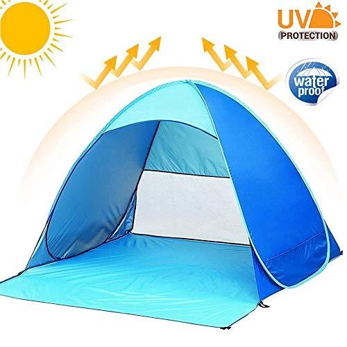 Teechaa Pop up Strandmuschel Tragbares Strand-Zelt UV Schutz 50 für 2-3person Einschließlich Tragetasche und Zeltpflöcke Tragbar Wurfzelt für Familie, Strand, Garten, Camping (Strand Zelt Uv)