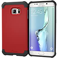 Galaxy S6Edge + Funda, rooCASE [Exec Tough] S6Edge + Slim Fit Funda Carcasa [Protección de la esquina] Armor Hybrid PC/TPU para Samsung Galaxy S6Edge Plus (2015), plástico, Carmine Red, Galaxy S6 Edge+