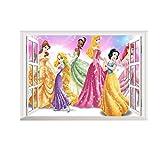 Kinder Wandtattoo Decor Prinzessin Aurora Snow weiß Ariel Jasmin Rapunzel Cinderella Belle Tiana Größe 50cm x 70cm