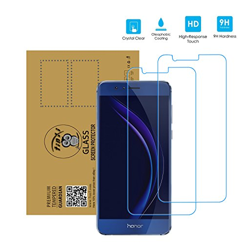 tinxi® 2x Tempered Explosionsgeschützte Glass Hartglas Schutzfolie für Huawei Honor 8 5,2 Zoll Premium Screen Folie Protector Ultra Hart Displayschutz clear