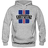 Shirt Happenz Island WM 2018#10 Kapuzenpullover Fußball Herren Knattspyrna Wikinger Trikot Nationalmannschaft, Farbe:Graumeliert (Greymelange F421);Größe:XL