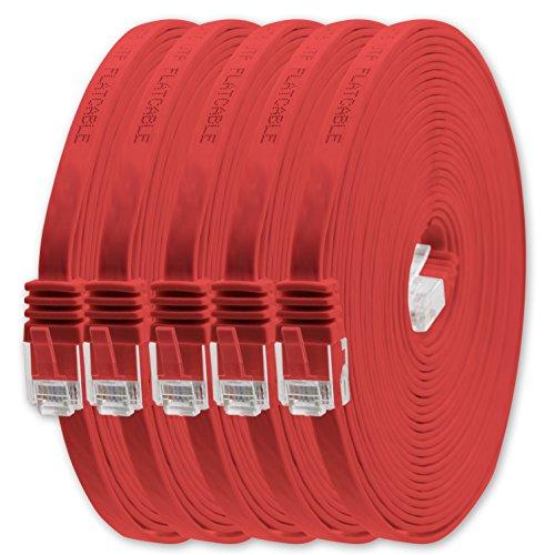 1Attack. de Cat6Cat.6Cable Plano Cable de Red lankabel Cable Plano Plano Banda lankabel 1000Mbit/s Rojo Rojo - 5 Piezas 10 m