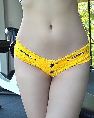 Sexy Nightclub Womens Summer Jeans Shorts Low Waist Hot Pants Beach Daisy Duke ,Yellow,L YYDZJ
