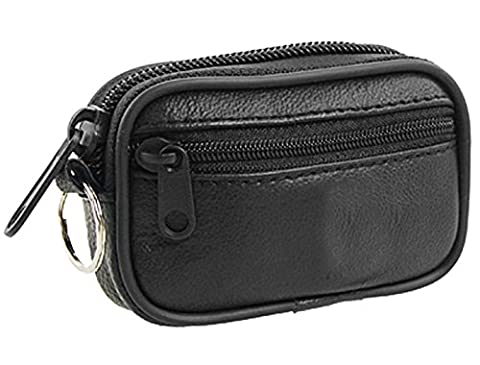 sourcingmap® Zipper Closure Black Faux Leather Coin Purse w Key