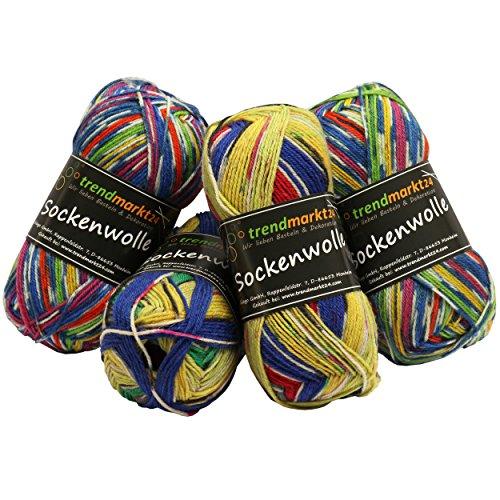 Wolle-Set-Mix ✓ Bunt 4fädig ✓ Woll-Paket insg. 200g ✓ 75% Schurwolle 25% Polyamid ✓ OEKO-TEX Standard100 Ökotex ✓ Socken-Wolle 4fach ✓ Stumpfwolle Strickwolle Mix Sparpaket | trendmarkt24 602024 (Jungen-woll-socken)