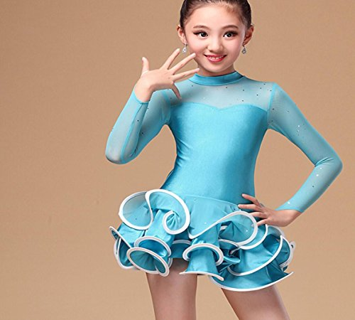 Kostüm Dance Freestyle - Kinder Latin Dance Wear Mädchen Kinder Performing Dances Dance Performance Kostüme Freestyle Dance Kostüme Rose/Blau/Gelb, XL, Blue