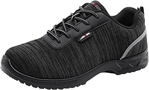 LARNMERN Scarpe da Lavoro da Uomo, LM-30 Scarpe Antiscivolo Traspiranti Ultra-Leggere in acciai Scarpe Antinfortunistiche(43 EU,Nero Chiaro)
