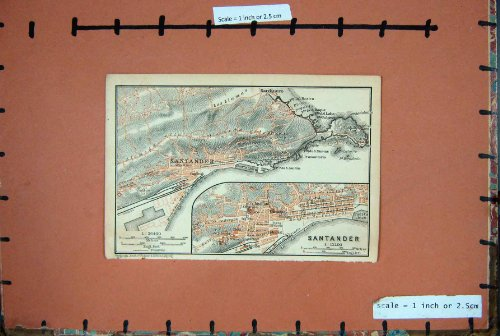 miranda-chico-di-santander-sardinero-di-pianificazione-della-spagna-1901-della-mappa