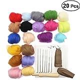 OUNONA Needle Felting Wool Set per Arte Manufatto Fai Da Te 20 colori 5g ogni colore