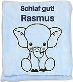 Wolimbo Flauschdecke Babydecke mit Namen ELEFANT hellblau