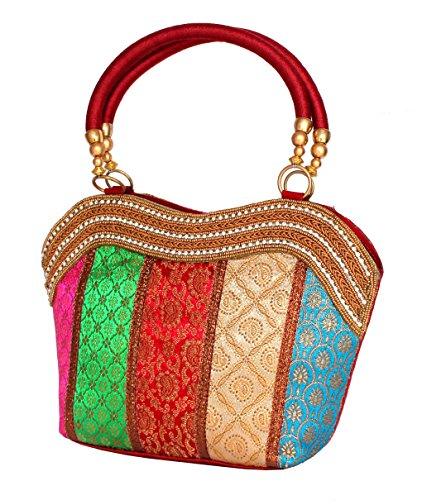 STOCK CLEARANCE SALE- Banarasi Brocade Fabric Handbag Shoulder Bag - For Outings, Party , Evening Get Together, Marriage