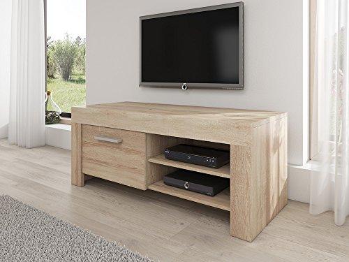 TV Möbel Ständer Schrank Fernsehtisch Fernsehschrank Rome 120 cm Licht Eiche Sonoma (Holz-ständer Tv)