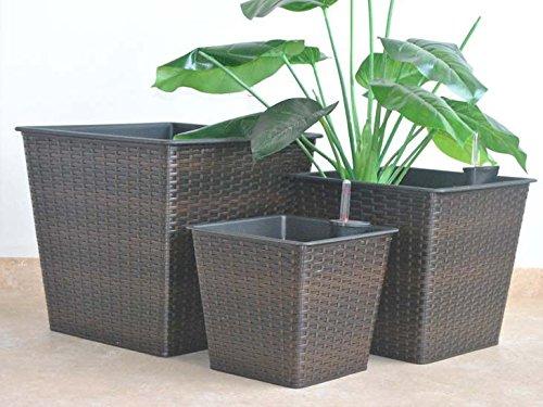 Blumenkübel Pflanzkübel Blumentopf Quadrat konisch Polyrattan LxBxH 34x34x31cm coffee braun