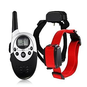 Collier de dressage de chien électrique rechargeable télécommandé sans fil avec écran LCD à portée de 1000 mètres, Pour 2 Chiens