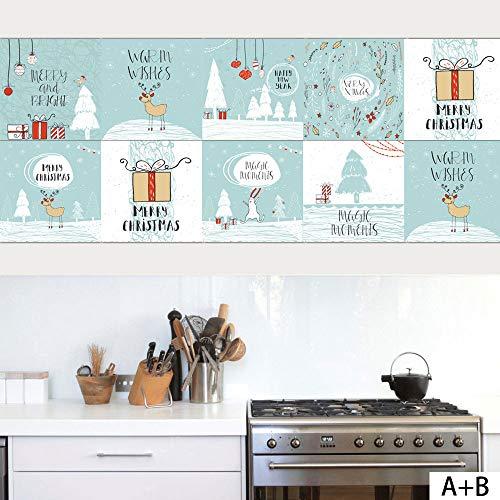 Dekorative Fliesen Backsplashes (VANCORE Backsplash Fliesen-Aufkleber, Weihnachts-DIY Fliesen-Aufkleber, wasserdicht, abziehbar, Heimdekoration, Küche, Wohnzimmer, Schlafzimmer, Aufkleber 100 x 20cm/39.4 x 7.9 IN. x 3 PCS blau)