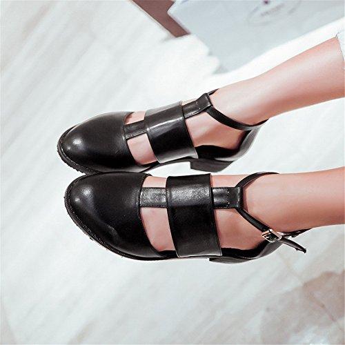 Cuckoo Low Heels brevet synthétique Sandale en cuir Chaussures Femmes Noir