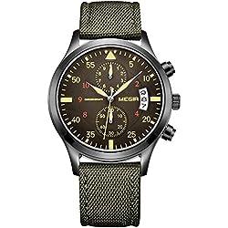 Megir-Reloj ejército relojes Casual correa de nailon verde Cronógrafo Fecha Cuarzo Reloj de pulsera
