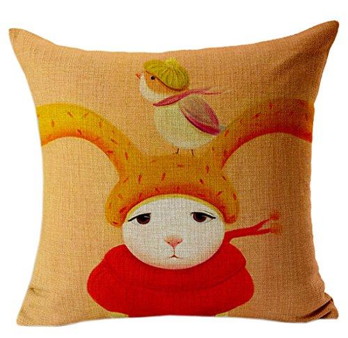 Yue Lian Kissenbezug Tiere & Mädchen Muster Kissenüberzug Zierkissenbezug Kissenhülle (Vogel+Kaninchen)