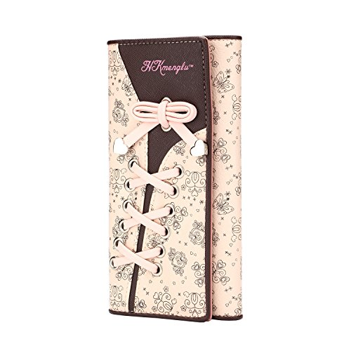 Portefeuille Femme Cuir Porte-monnaie Elegant Floral Ruban a Main en Rose Sac à Main-Très Chic Mailanda