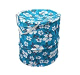 Winner Full Size Blue Round Floral Print Foldable Laundry Basket - Laundry Bag for Organizing Cloths
