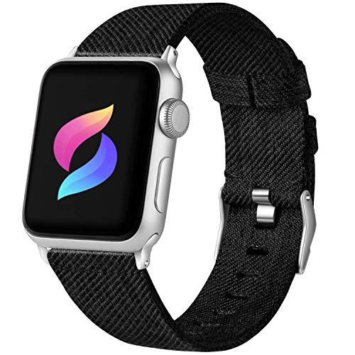 ANBEY für Watch Armband Nylon 44mm 38mm 42mm 40mm, Replacement Segeltuch Nylon Sport Wristband für Watch Serie 5 4 3 2 1,Schwarz