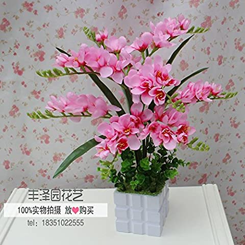 absin Künstliche Blumen Orchideen Blumen Topfpflanzen Keramik Blumentöpfe mit Blumen pink