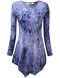 Djt Femme T-Shirt Tops Blouse Manches Longues Col Rond Pull-Over Hauts