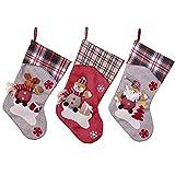 YAMUDA 3 Pcs Set Big size Classic Christmas Stockings Christmas Stocking XMAS Gift (Set F)
