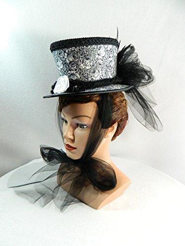 Mini Damen Zylinder Damenhut Fascinator schwarz (Vampir Eine Faire De Kostüm)