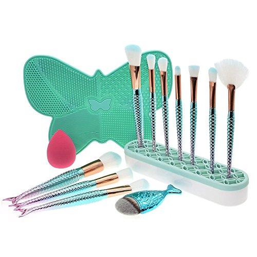 Dolovemk® sirène Lot de pinceaux de maquillage, 10 pcs Pinceaux + Chubby Poisson Contour Brosse + éponge blender + Support pour brosse en silicone + Coque en silicone Nettoyant