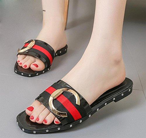 Round Schnalle weiblicher flacher Hausschuh mit flachen Sandalen und Pantoffeln weibliche Oberbekleidung Sommer Sandalen Wort zögert weiblich Black