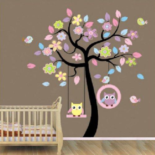 Zehui Wandaufkleber Kinderzimmer Sticker Tür Festern Dekor Eulen Schwingen Baum abnehmbare Wandstickers