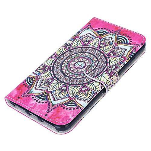 Custodia iPhone 7 Plus/iPhone 8 Plus (5.5), EUWLY Flip Cover Leather Wallet Case Custodia per iPhone 7 Plus/iPhone 8 Plus (5.5) in PU Pelle, Bling Bling Custodia Cover con Ultra Sottile Interno Sili Rosa Girasole