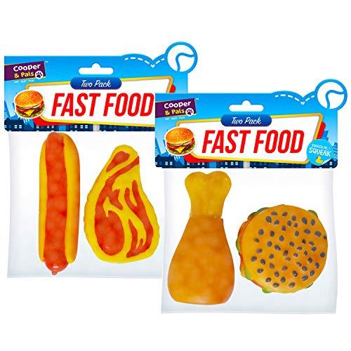 Cooper & Pals Quietschendes Fast-Food-Spielzeugset für Hunde (ungiftige, haltbare und waschbare Hundeartikel), Steak, Hühnertrommelstock und Hamburger Packung mit 4 (Steak Hund Spielzeug)